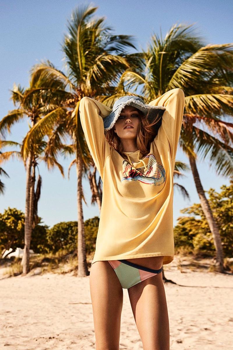 Topshop Denim Bucket Hat, Palm Tree Hoodie and Color Block Bikini Bottoms