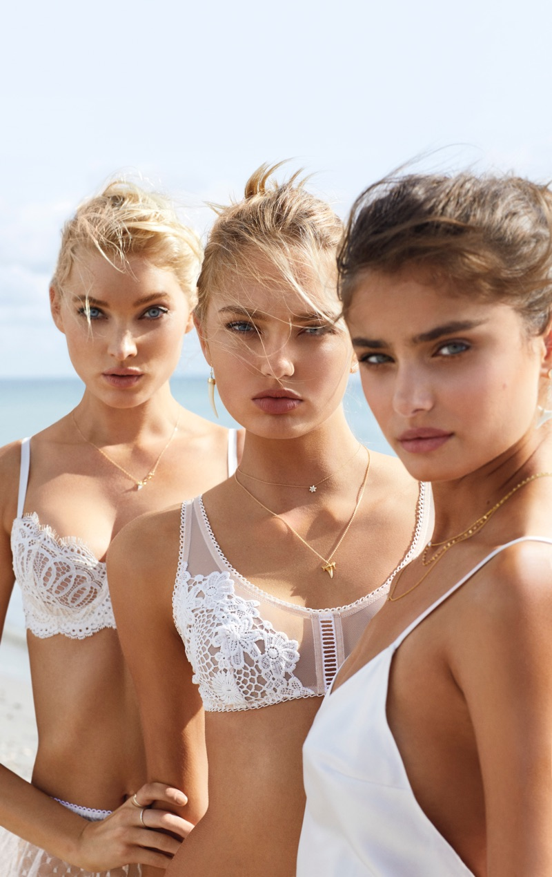 Elsa Hosk, Romee Strijd and Taylor Hill pose in Victoria's Secret white-hot styles for summer