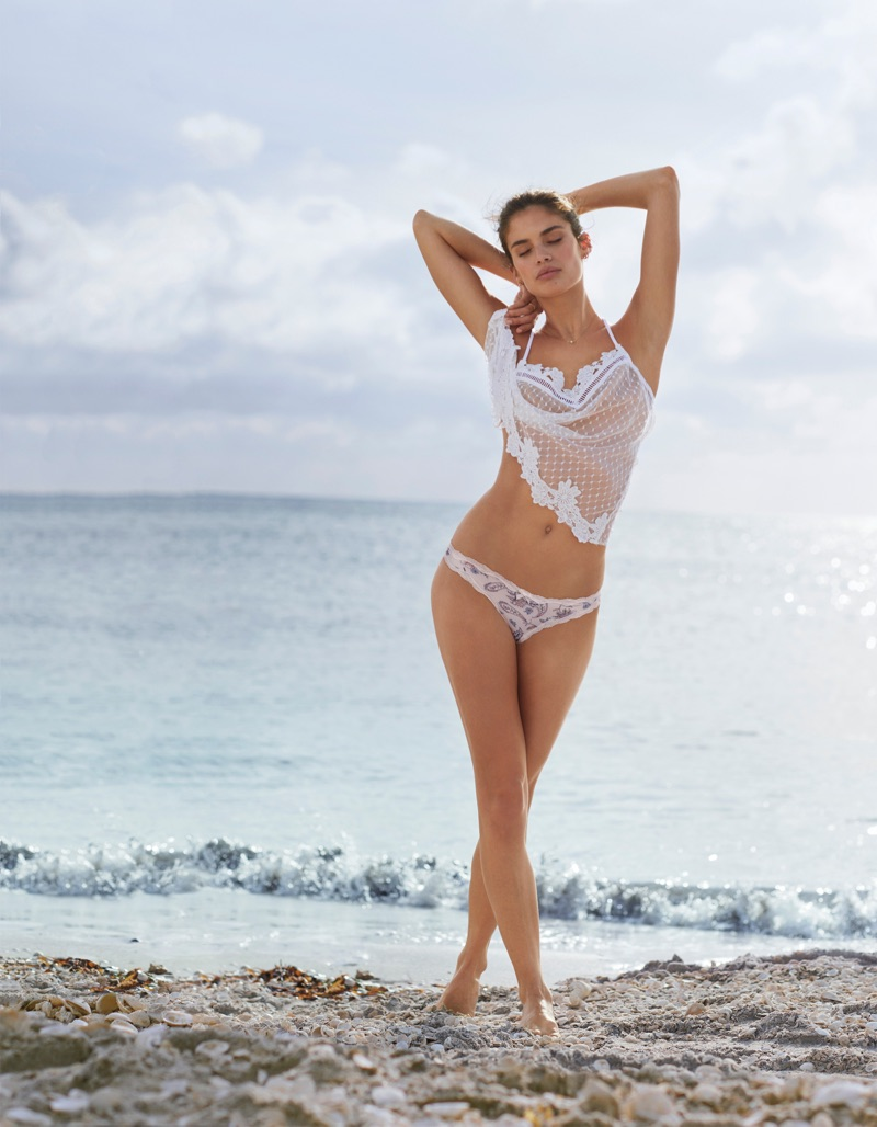 Sara Sampaio models Victoria's Secret Dream Angels Mesh Cami and Panty