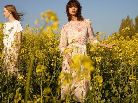 (Left) Zara White T-Shirt and Floral Print Skirt (Right) Zara Floral Print Dress and White Belt