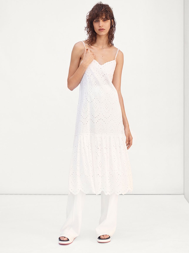 White dress at zara -  Mica Arganaraz Models Zara White Dress White Trousers And Platform Slides