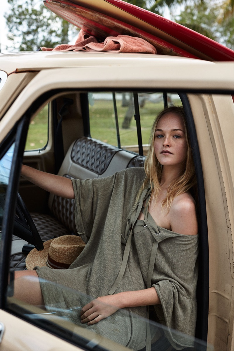 Chilling in style, Jean Campbell models Zara Dress with Lace-Up Neckline