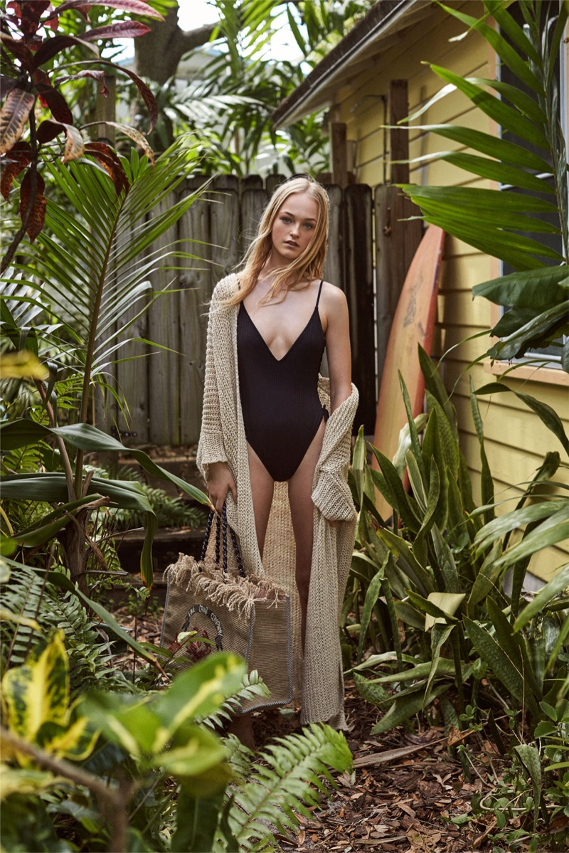 Zara Long Oversized Jacket and Knotted Swimsuit