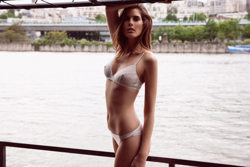 Monica Cima poses in white lingerie from Absolutely Pom