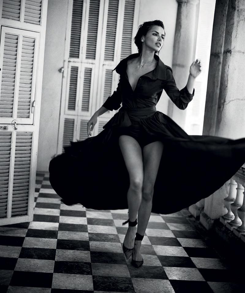 Adriana Lima Stuns in Black & White for Harper's Bazaar Spain
