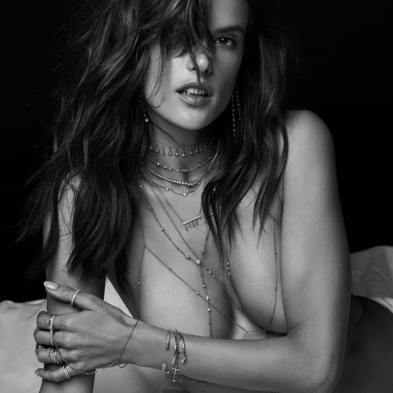 Posing topless, Alessandra Ambrosio looks beyond sexy in Jacquie Aiche's summer 2017 campaign