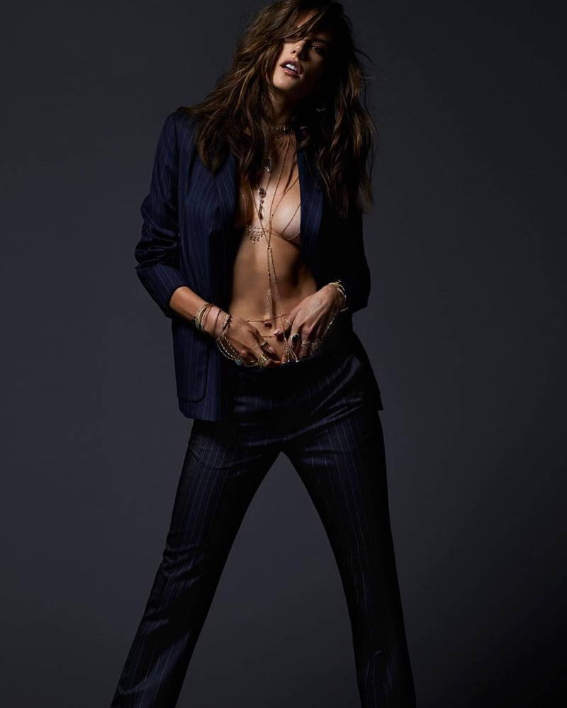 Suiting up, Alessandra Ambrosio flaunts some skin in Jacquie Aiche jewelry campaign