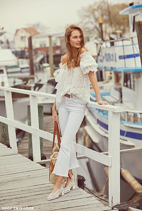 So fresh 4 all white outfit ideas from shopbop loveshackfancy carrie top rag bonejean crop flare jeans see by chloe urmus Image collections