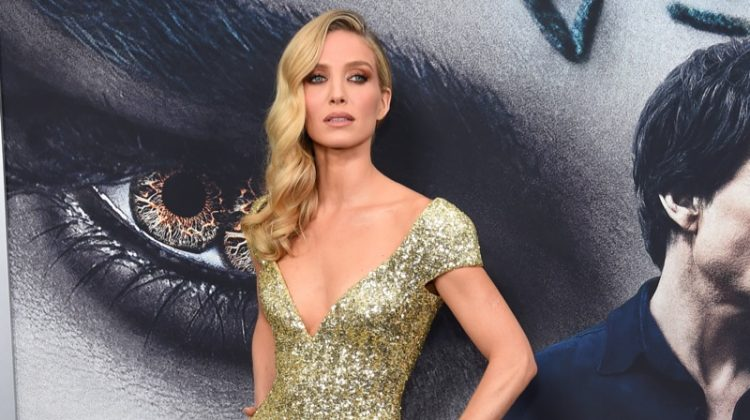 Actress Annabelle Wallis attends the New York premiere of 'The Mummy' wearing a gold Giorgio Armani dress. Photo: Jamie McCarthy / Getty Images