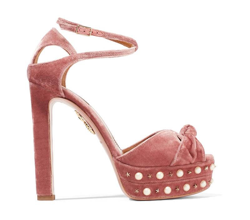 Aquazzura Harlow Velvet Pearl Platform Sandals $950