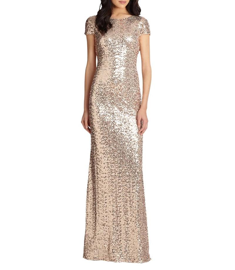 Badgley Mischka Sequin-Cowl Back Gown $615