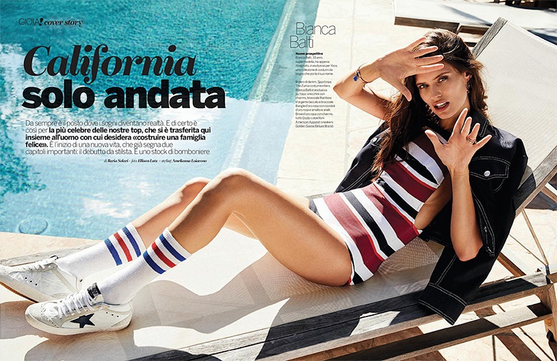 Model Bianca Balti poses in her swimsuit collection for the fashion editorial