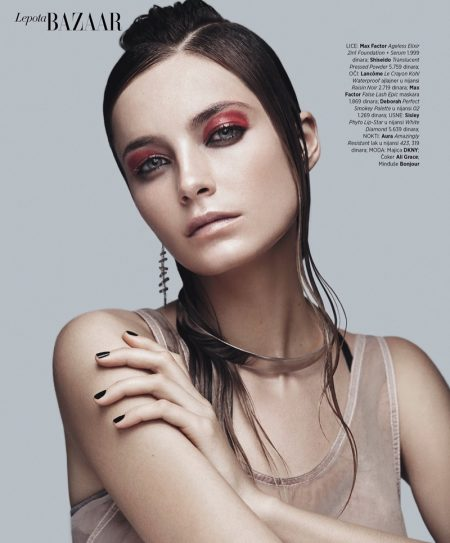 Bridget Malcolm Wears Sleek Beauty Looks in Harper's Bazaar Serbia