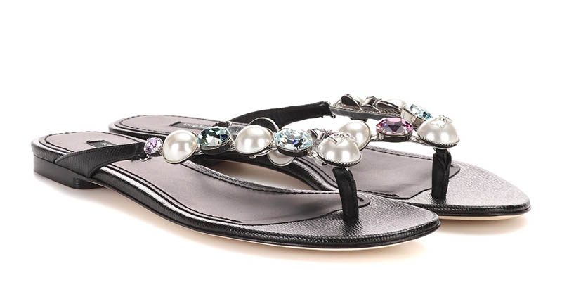 Dolce & Gabbana Embellished Leather Sandals $795