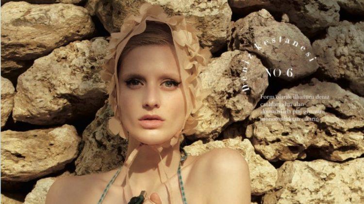 Dora Stastna Models Retro Swimwear Style in BAZAAR Turkey