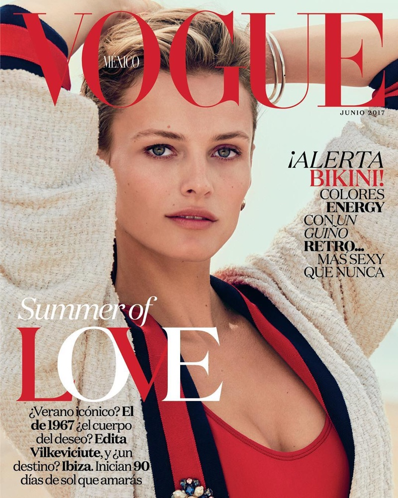 Wearing Gucci, Edita Vilkeviciute covers Vogue Mexico June 2017