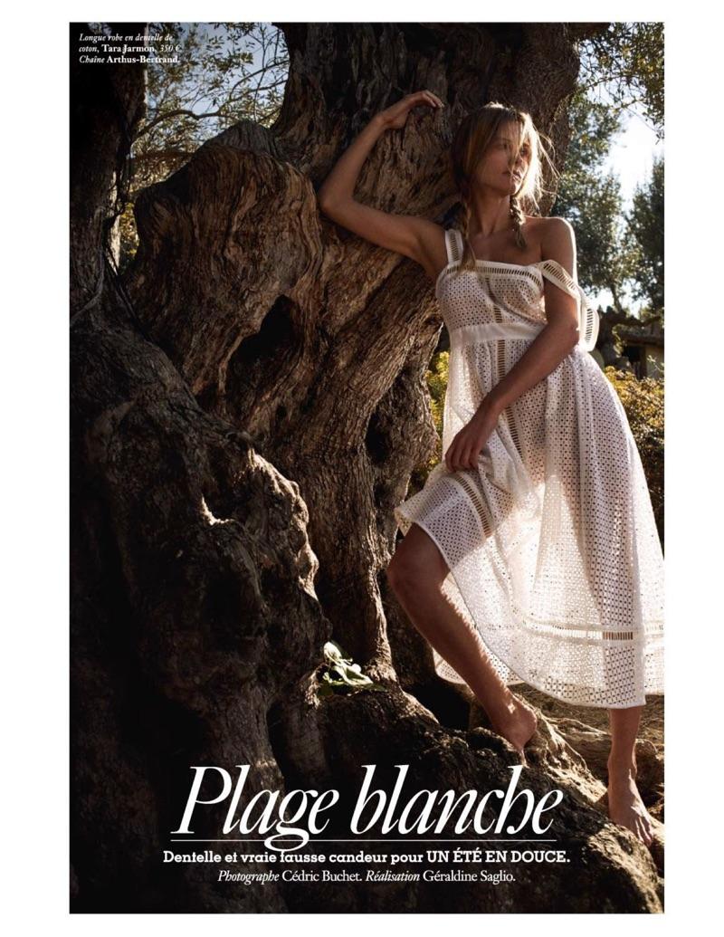 Model Edita Vilkeviciute wears white looks for the fashion editorial