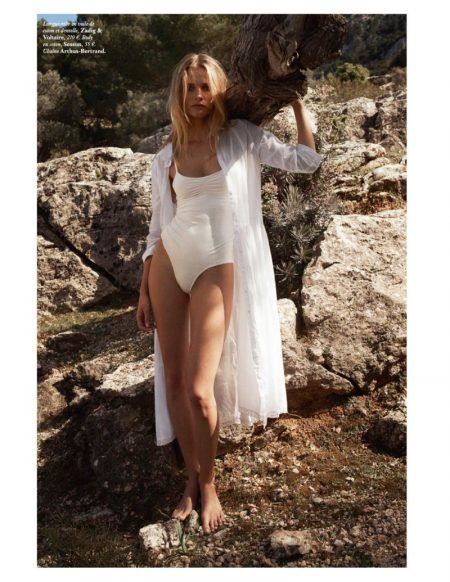 Edita Vilkeviciute Embraces All White Fashions for Vogue Paris