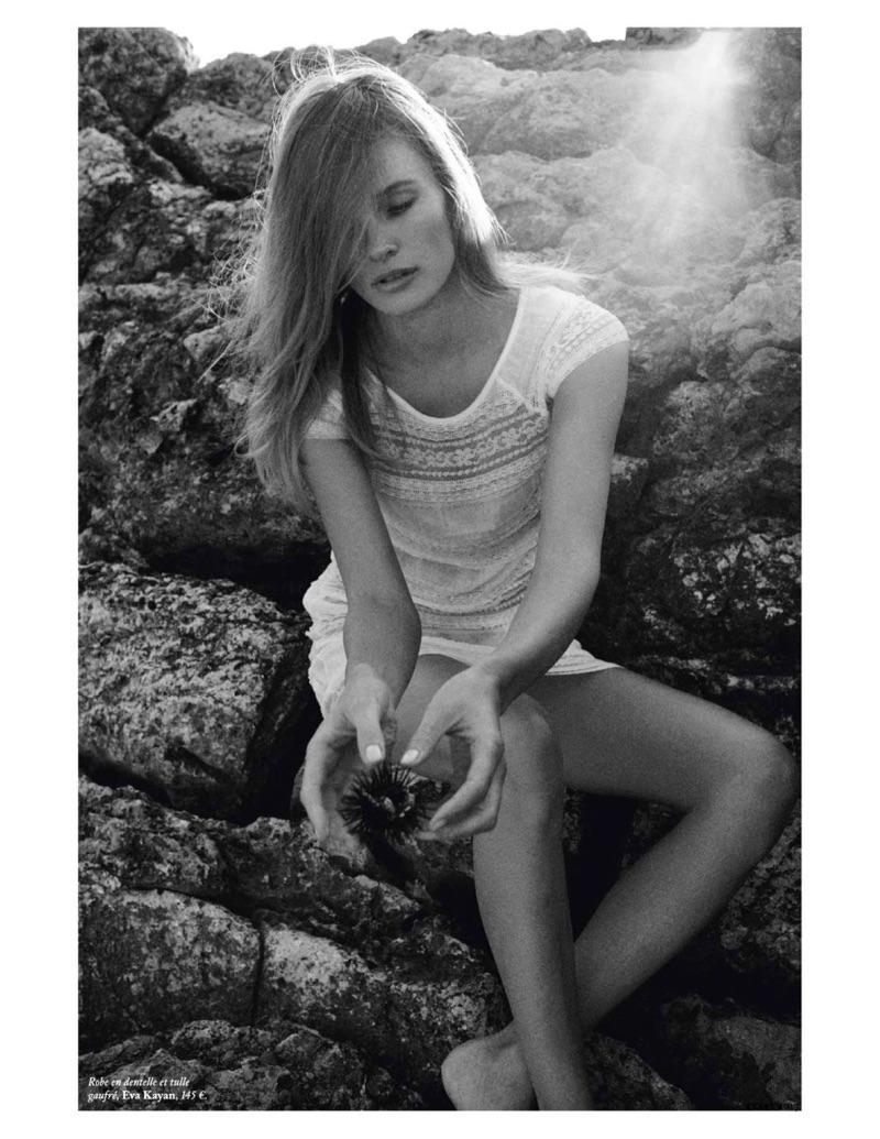 Edita Vilkeviciute Embraces All White Fashions for Vogue Paris