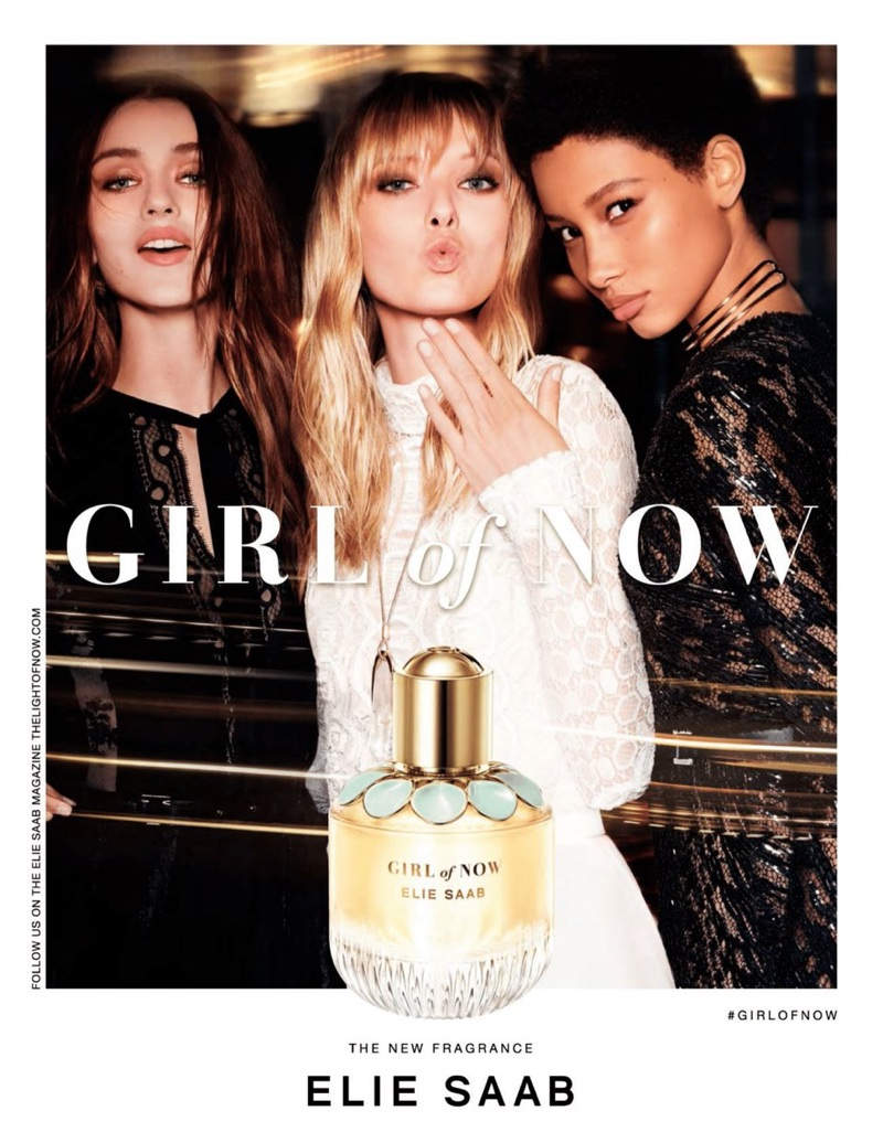 Gabby Westbrook, Ulrikke Hoyer and Lineisy Montero front Elie Saab's Girl of Now fragrance advertisement