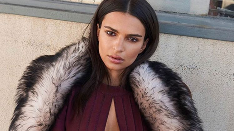 Model Emily Ratajkowski covers up in fur stole and dress from Marc Jacobs