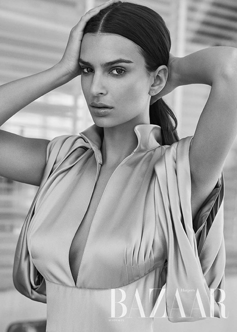 Getting her closeup, Emily Ratajkowski wears a Prada dress