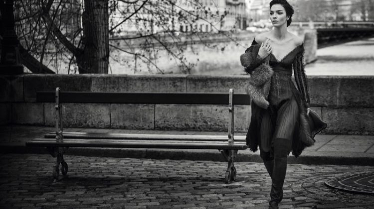 Mariacarla Boscono poses in Paris for Ermanno Scervino's fall-winter 2017 campaign