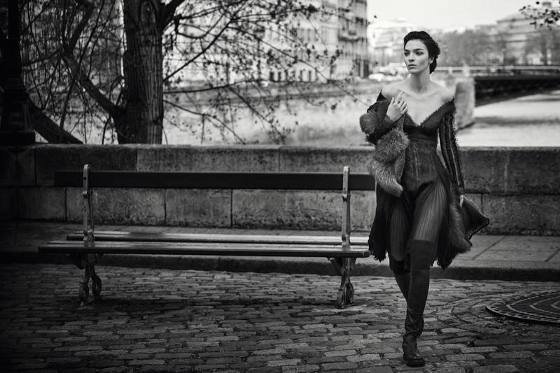 Mariacarla Boscono poses in Paris for Ermanno Scervino's fall-winter 2017 campaign