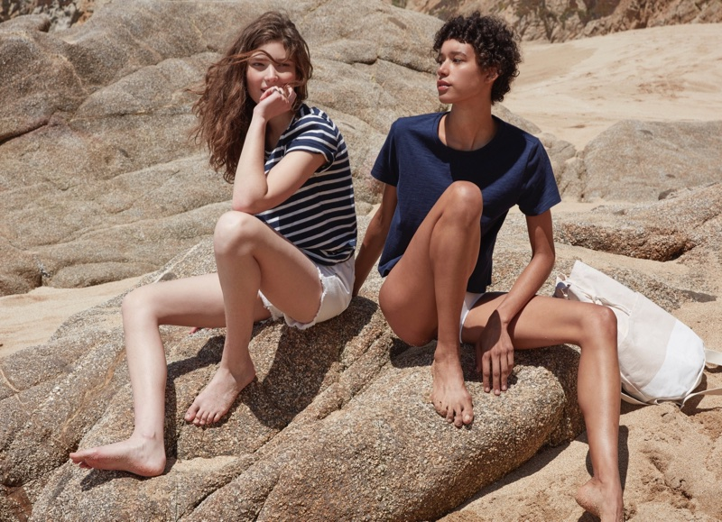 (Left) Everlane The Beach Tee in Stripe (Right) Everlane the Beach Tee in Navy and The Beach Canvas Backpack
