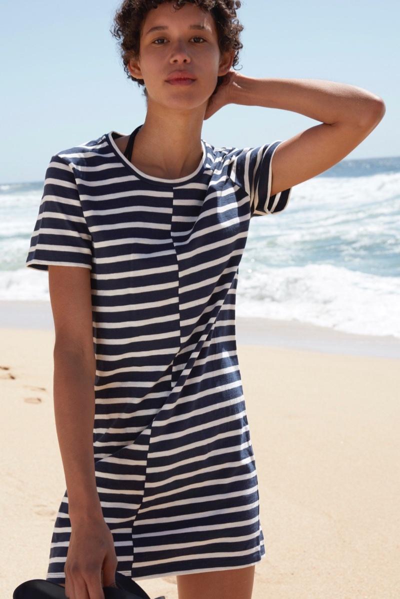Everlane The Beach Tee Dress in Stripe