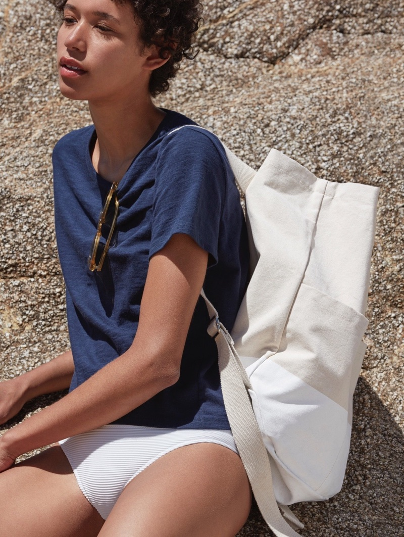 Everlane The Beach Tee in Navy and The Beach Canvas Backpack
