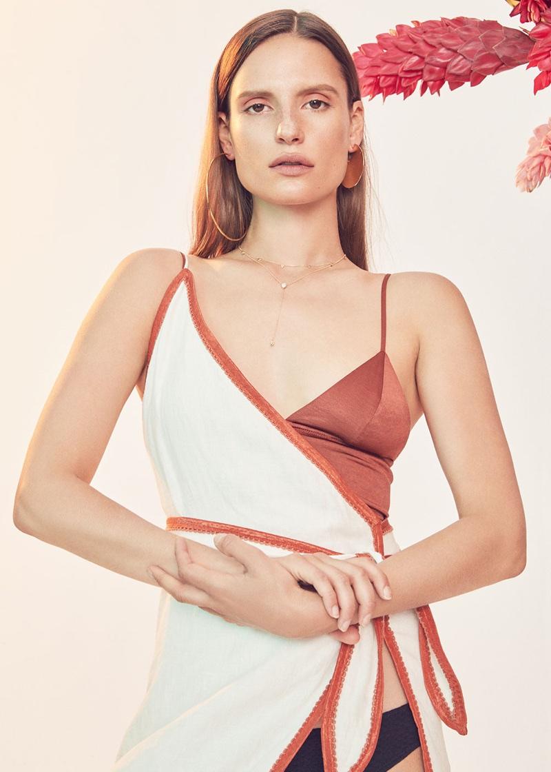 LPA for FWRD Dress 531 $228, Fleur du Mal Triangle Longline Bra $98 and Lisa Marie Fernandez Leandra Button Down Bikini $395