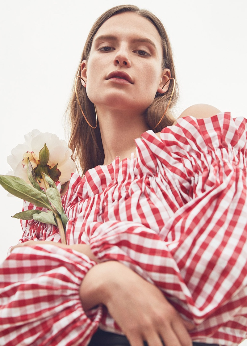 Marques' Almeida for FWRD Off Shoulder Gingham Blouse $350 and Magda Butrym Large Hoop Earrings $558