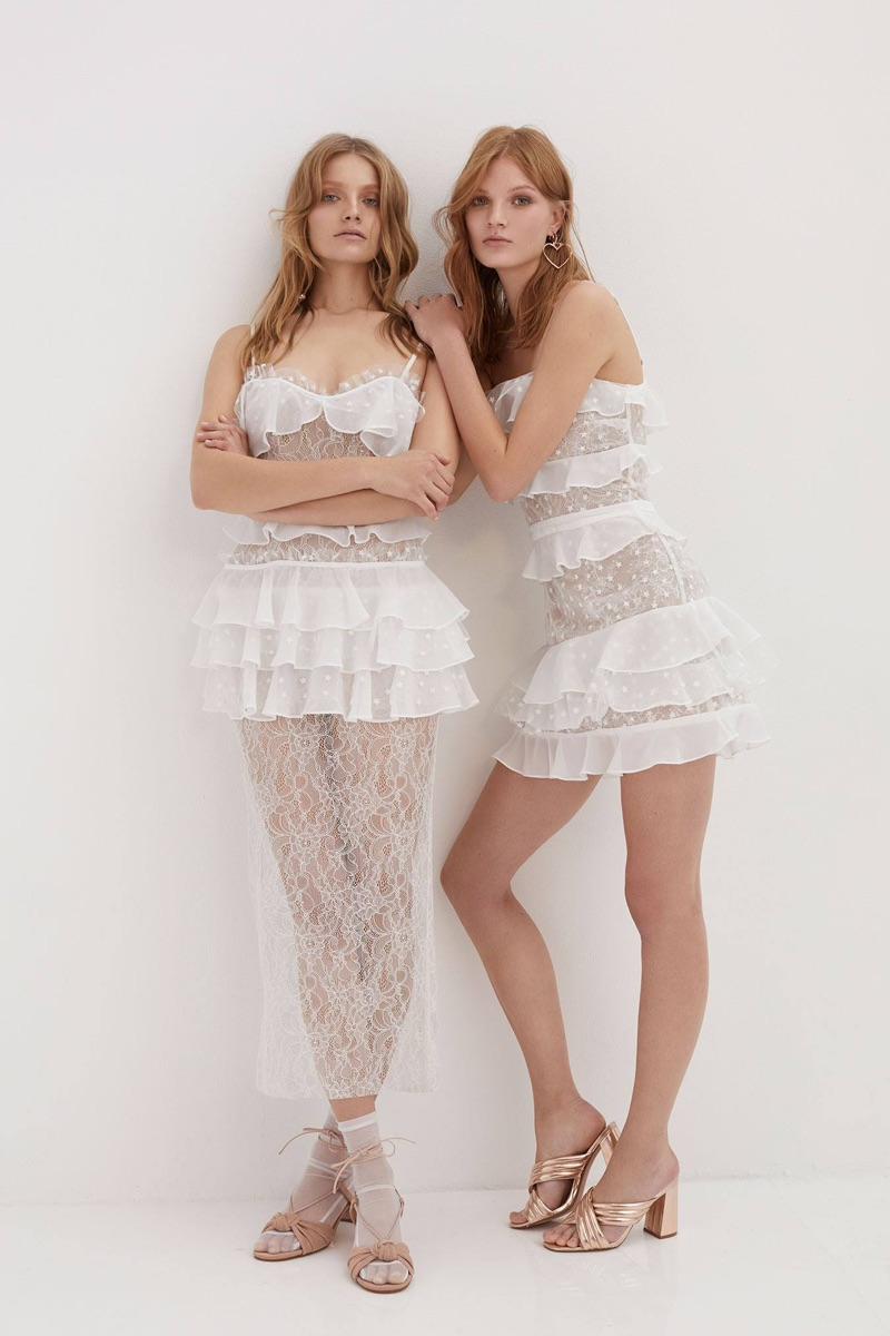 Cosmic Midi Lace Dress and Cosmic Lace Tiered Dress from For Love & Lemons' summer 2017 collection