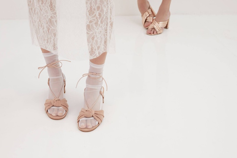 A look at the For Love & Lemons x Marais Suede Slide and Marais Suede Heel