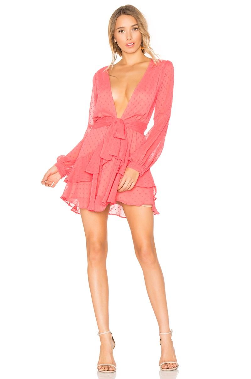 For Love & Lemons Tarta Long Sleeve Mini Dress $224