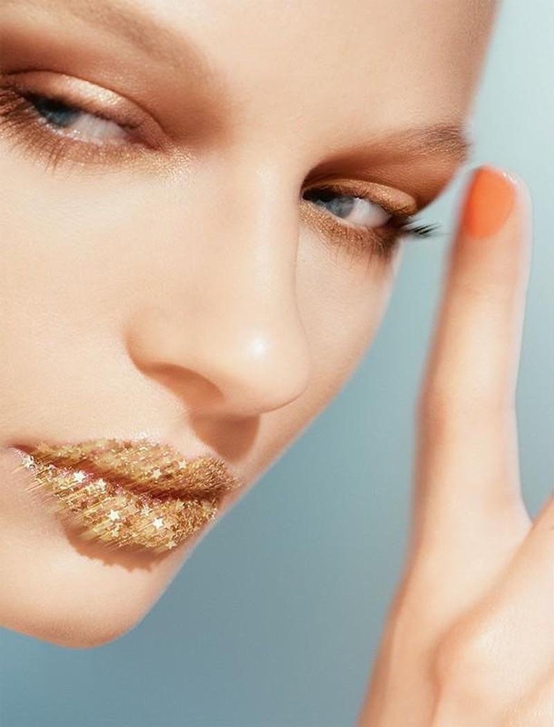 Model Frederikke Sofie wears summer beauty looks in the editorial