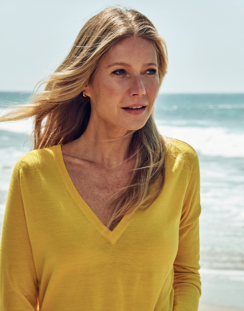 Actress Gwyneth Paltrow poses in Equipment cashmere sweater