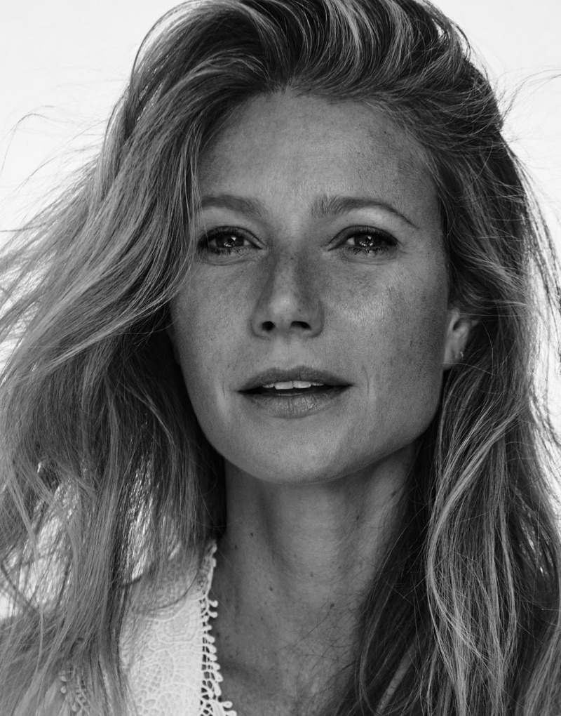 Photographed in black and white, Gwyneth Paltrow poses in Chloe crochet lace dress