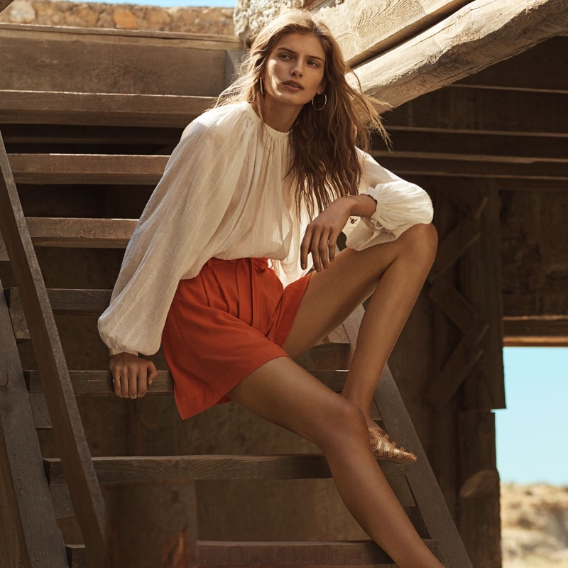 H&M Balloon-Sleeved Blouse, Short Shorts and Gold Mules