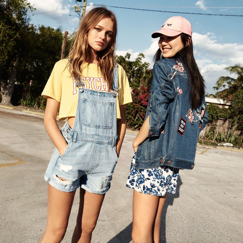 (Left) H&M Short T-Shirt and Denim Bib Overall Shorts (Right)