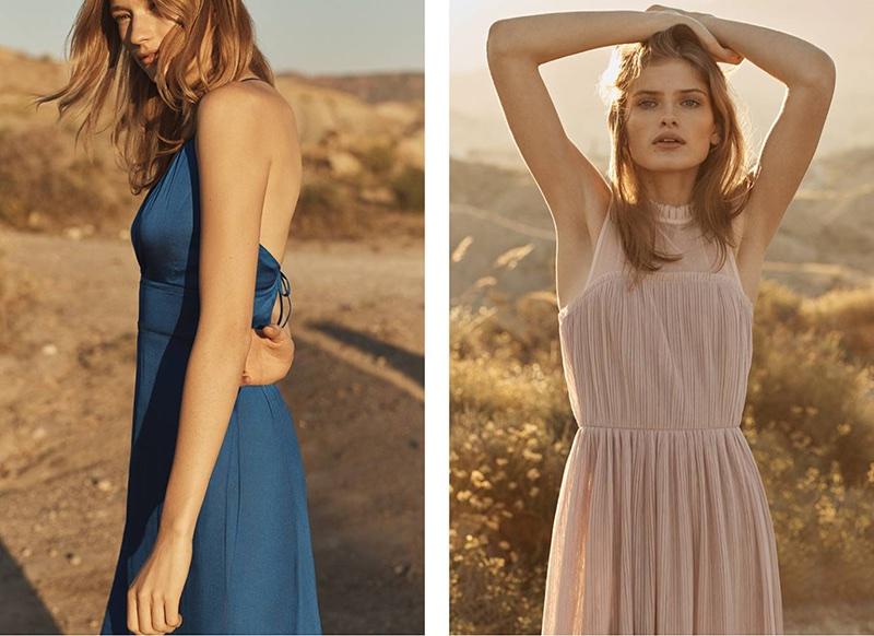 (Left) H&M Satin Maxi Dress (Right) H&M Pleated Dress