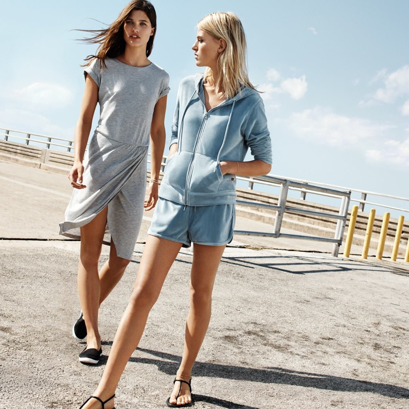 (Left) H&M Wrap-Front Dress and Sandals (Right) H&M Velour Hooded Jacket, Velour Shorts and Slip-On Shoes