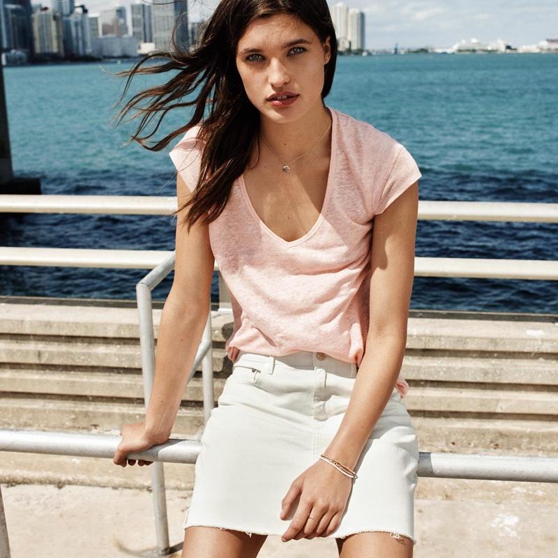 H&M Linen Jersey Top and Denim Skirt