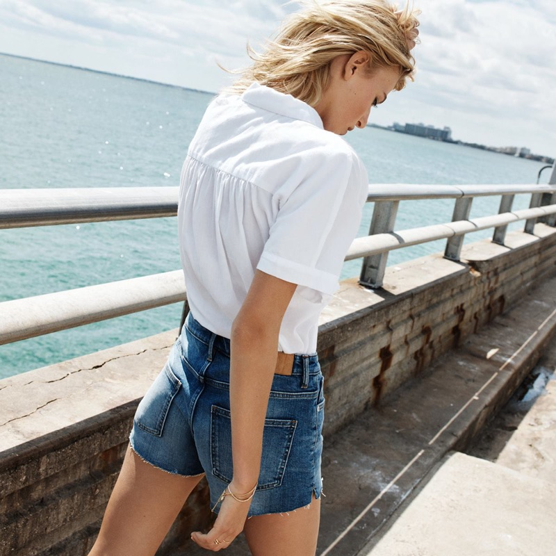 H&M Wide-Cut Blouse and Denim Shorts