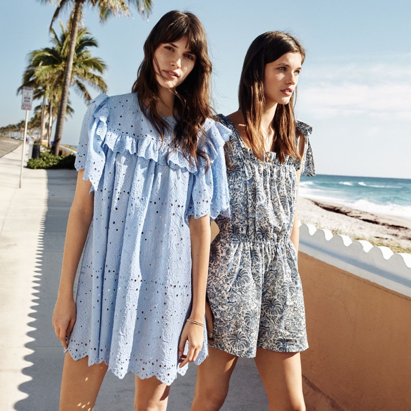 567825ab0 (Left) H&M Dress with Eyelet Embroidery (Right) H&M Patterned Jumpsuit