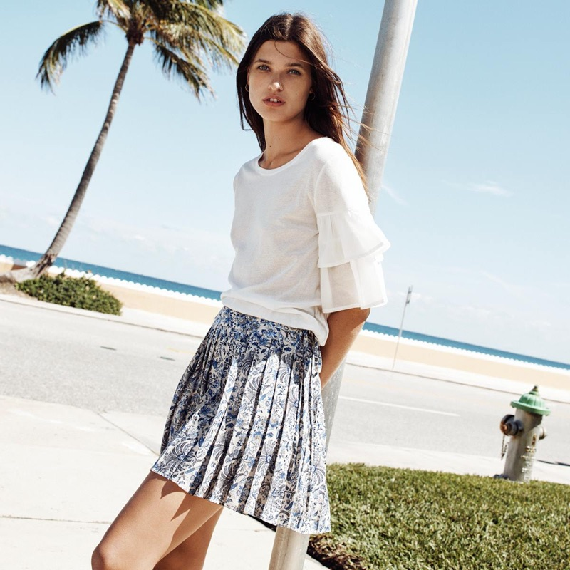 H&M Jersey Flounce-Sleeved Top and Pleated Skirt