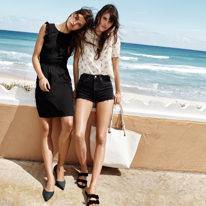 (Left) H&M Dress with Ruffled Sleeves and Pointed Flats (Right) H&M Short-Sleeved Blouse, High Waist Denim Shorts, Shopper with Clutch Bag and Sandals