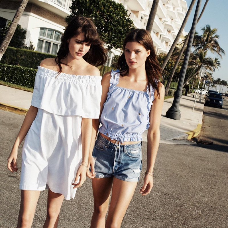 (Left) H&M Off-the-Shoulder Dress (Right) H&M Drawstring Top and High Waist Denim Shorts