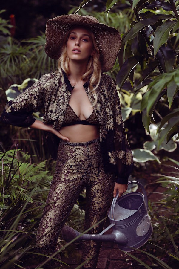 Gold Lace Bomber Jacket and Pants George Wu, Bralette Love Stories Intimates from Unplugged Byron Bay, Hat stylist's own